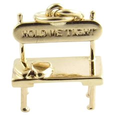 "Vintage 14 Karat Yellow Gold ""Hold Me Tight"" Lover's Bench Charm"