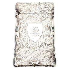 Antique Thomas Bishton Sterling Silver Match Safe with Monogram