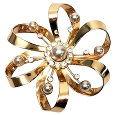 Vintage Coro Gold Vermeil Sterling Silver Crystal and Pearl Flower Pin