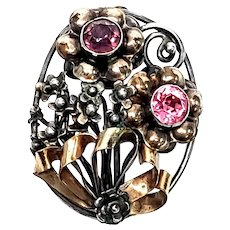 Vintage Hobe Gold Vermeil Sterling Silver Rhinestone Flower Pin