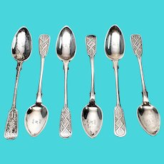 Set of 6 Antique Russian 875 Silver Spoons