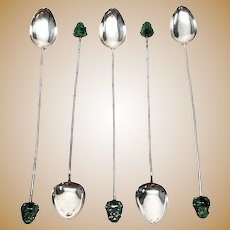 Set of 5 Vintage Lee Yee Hing 900 Silver Bamboo Design Jade Buddha Iced Tea Spoons