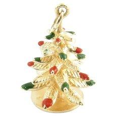Vintage 14 Karat Yellow Gold Christmas Tree Charm