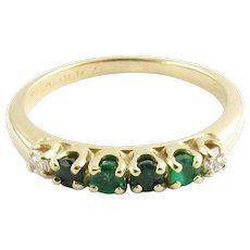 Vintage 14 Karat Yellow Gold Emerald and Diamond Ring Size 7.5