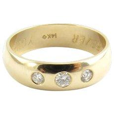 Vintage 14 Karat Yellow Gold and Diamond Wedding Band Size 8.75