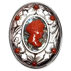 Vintage 800 Silver Abalone, Mother of Pearl and Red Coral Cameo Pendant/Pin