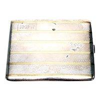 Vintage Waltrous Sterling Silver 14K Inlaid Cigarette Case #468