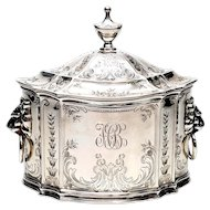 Antique Tiffany & Co Sterling Silver Tea Caddy with Lid, with Monogram