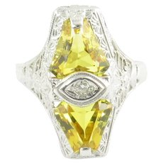 Vintage 14 Karat White Gold Filigree Citrine and Diamond Ring Size 6