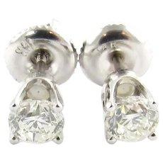 Vintage 14 Karat White Gold Diamond Stud Earrings TCW. .56 CT.