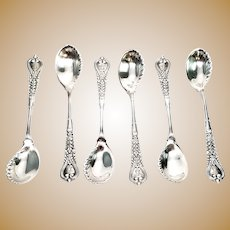 Set of 6 Antique Tiffany & Co Sterling Silver Florentine 1900 Sorbet Spoons with Monogram