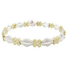 Vintage 18 Karat White and Yellow Gold Diamond Bracelet