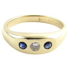 Vintage 14 Karat Yellow Gold Sapphire and Diamond Ring Size 4.75