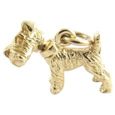 Vintage 14 Karat Yellow Gold Schnauzer Dog Charm