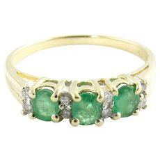Vintage 14 Karat Yellow Gold Emerald and Diamond Ring Size 6.25