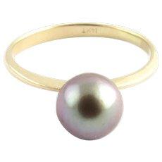 Vintage 14 Karat Yellow Gold Grey Pearl Ring Size 5.5
