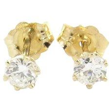 Vintage 14 Karat Yellow Gold Diamond Stud Earrings .30 cts. twt.