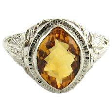 Vintage 14 Karat White Gold and Citrine Ring Size 6