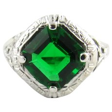 Vintage 14 Karat White Gold and Simulated Emerald Ring Size 6.5