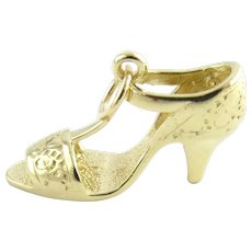 Vintage 14 Karat Yellow Gold High Heel Sandal Charm