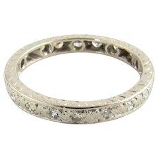 Vintage 14 Karat White Gold and Diamond Wedding Band size 7.5