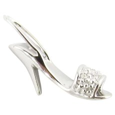 Vintage 10 Karat White Gold and Diamond High-Heeled Sandal Charm