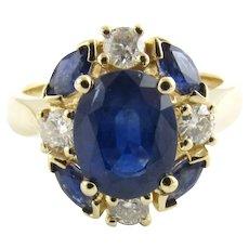 Vintage 14 Karat Yellow Gold Sapphire and Diamond Ring Size 6.75