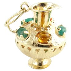 Vintage 14 Karat Yellow Gold and Gemstone Pitcher  Charm