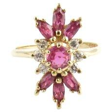 Vintage 14 Karat Yellow Gold Ruby and Diamond Ring Size 4.75