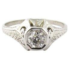 Victorian 18K White Gold Diamond Ring Size 7.5