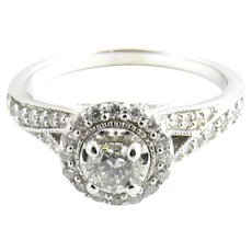 Vintage 14 Karat White Gold Diamond Engagement Ring Size 8