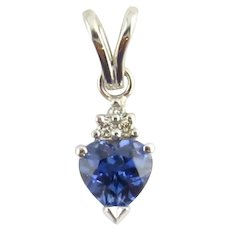 Vintage 14 Karat White Gold Tanzanite and Diamond Pendant