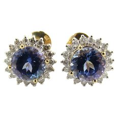 Vintage 14 Karat Yellow Gold Tanzanite and Diamond Earrings