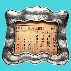 Antique Gorham Sterling Silver Calendar Stand with Monogram
