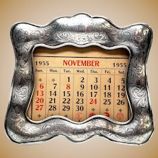 Antique Gorham Sterling Silver Calendar Stand with Monogram