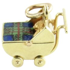 Vintage 14 Karat Yellow Gold Baby Carriage with Twins Charm