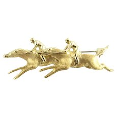 Vintage 14 Karat Yellow Gold Horses and Riders Brooch/Pin