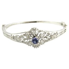 Vintage 14 Karat White Gold Tanzanite and Diamond Bangle Bracelet