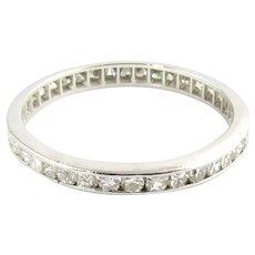 Vintage 14 Karat White Gold and Diamond Eternity Wedding Band Size 7.5