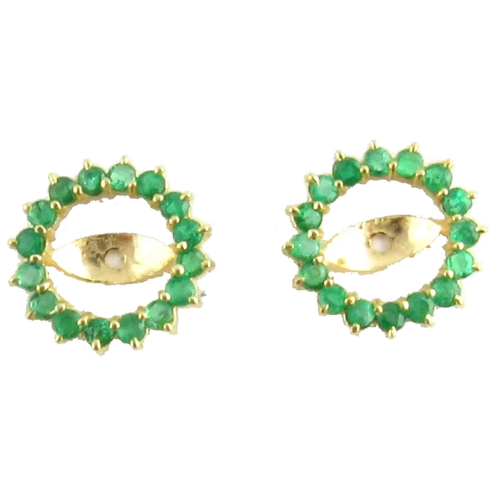 Vintage 14 Karat Yellow Gold And Emerald Earring Jackets