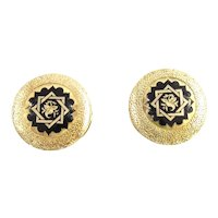 Vintage 14 Karat Yellow Gold and Enamel Button Covers
