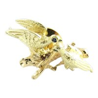 Vintage 14 Karat Yellow Gold and Sapphire Morning Doves Brooch/Pin