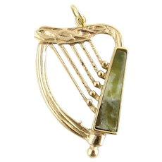 Vintage 9 Karat Yellow Gold and Connemara Marble Harp Charm