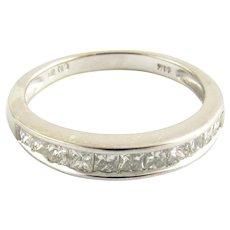 Vintage 14 Karat White Gold Princess Cut Diamond Wedding Band Size 6
