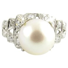 Vintage Platinum Pearl and Diamond Ring Size 6.5