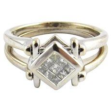 VIntage 18 Karat White Gold Diamond and Blue Sapphire Flip Ring Size 6