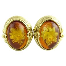 Vintage 18 Karat Yellow Gold and Amber Floral Earrings