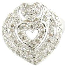 Vintage 18 Karat White Gold Diamond Heart Ring Size 7