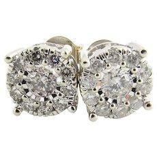 Vintage 14 Karat White Gold Diamond Cluster Earrings