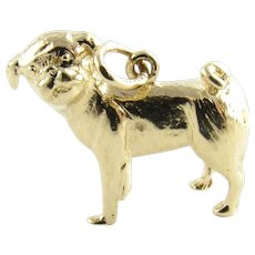 Vintage 14 Karat Yellow Gold Pug Dog Charm